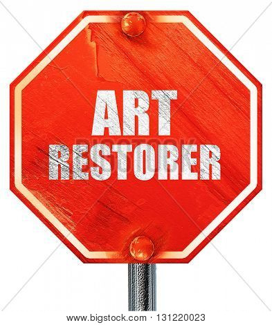 art restorer, 3D rendering, a red stop sign