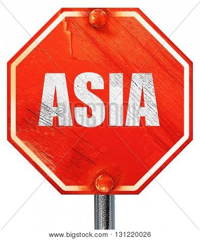 asia, 3D rendering, a red stop sign