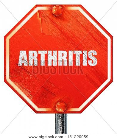 arthritis, 3D rendering, a red stop sign