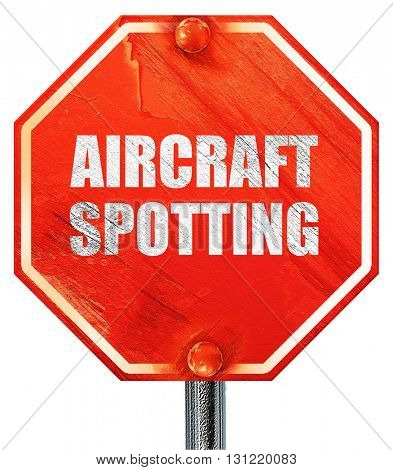 aircraft spotting, 3D rendering, a red stop sign