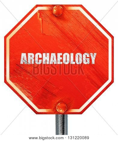 archaeology, 3D rendering, a red stop sign