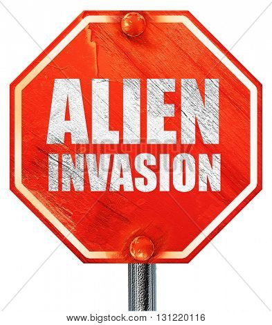 alien invasion, 3D rendering, a red stop sign