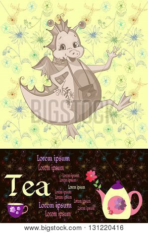 Tea packaging. Card with happy dragon teapot with flower, cup and place for text on floral background. Teatime. Hand drawn vector illustration.