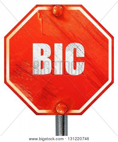 bic, 3D rendering, a red stop sign