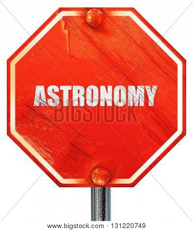astronomy, 3D rendering, a red stop sign