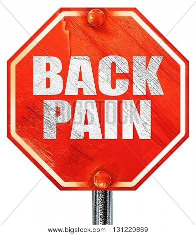 back pain, 3D rendering, a red stop sign