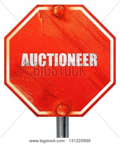 auctioneer, 3D rendering, a red stop sign