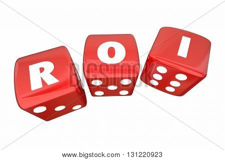 ROI Return on Investment Two Rolling Dice Letters 3d Illustration