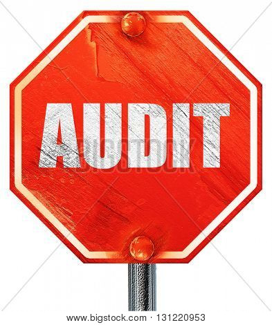 audit, 3D rendering, a red stop sign