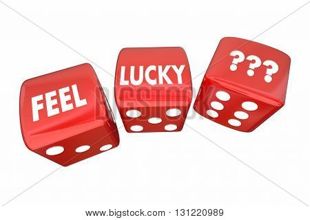 Feel Lucky Two Red Dice Roll Take Chance Challenge 3d Illustration