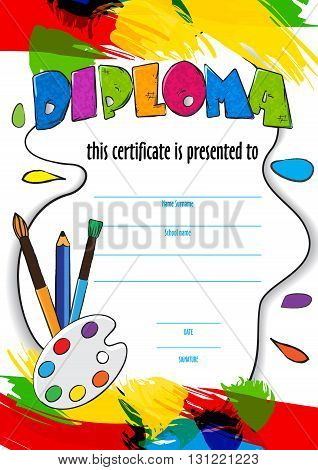 vector pattern childrens diploma for delivery on a creative contest in kindergarten or school. diploma of childrens paint brushes and palette for artists. Vector background