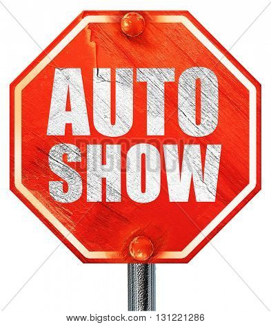 auto show, 3D rendering, a red stop sign