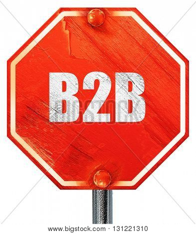 b2b, 3D rendering, a red stop sign