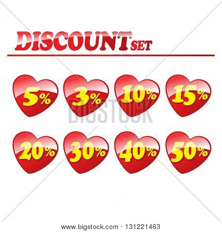 Yellow figure discount for sale on a red heart