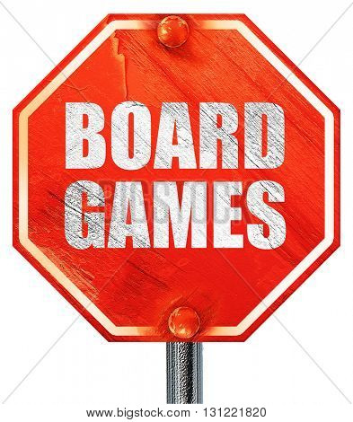 board games, 3D rendering, a red stop sign