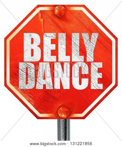 belly dance, 3D rendering, a red stop sign