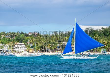 Traditional philippines sailing boats  at White Beach of Boracay island