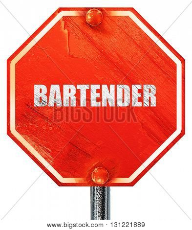 bartender, 3D rendering, a red stop sign