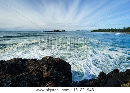 View of Chesterman Beach in Tofino British Columbia from Pettinger Point