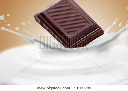 Fantastical milk and chocolate background. Drops, waves, splashes.