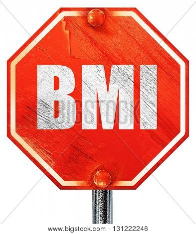bmi, 3D rendering, a red stop sign