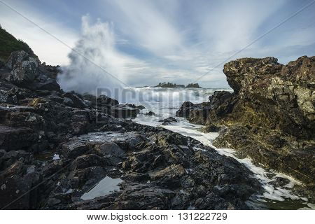 Waves Crashing at Pettinger Point Cox Bay Tofino Ucluelet Vancouver Island British Columbia Canada