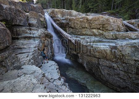 Female Hiker Lower Myra Falls Campbell River Vancouver Island British Columbia Canada