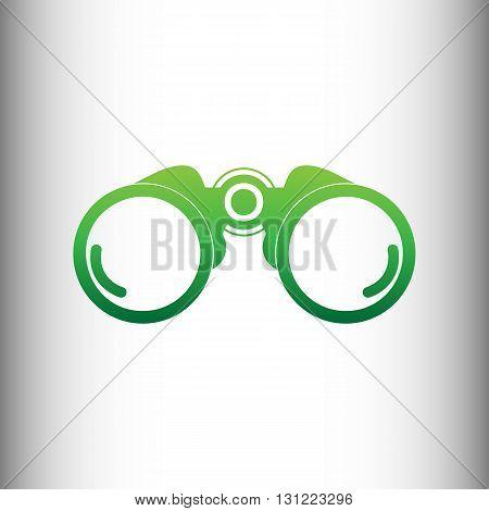 Binocular sign. Green gradient icon on gray gradient backround.
