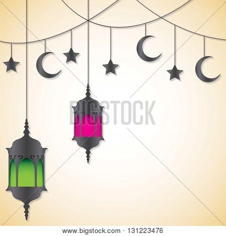 Moroccan Lantern Card In Vector Format.