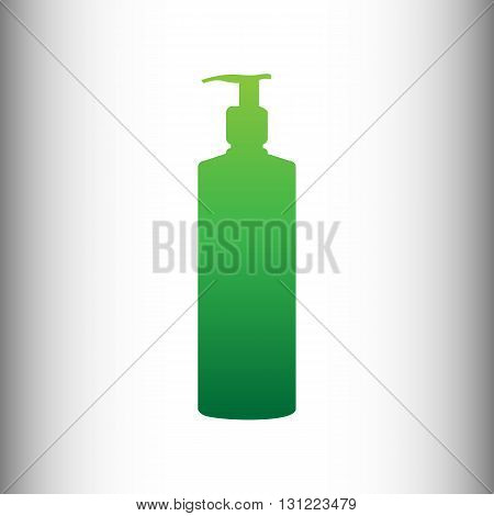 Gel, Foam Or Liquid Soap Dispenser Pump Plastic Bottle silhouette. Green gradient icon on gray gradient backround.