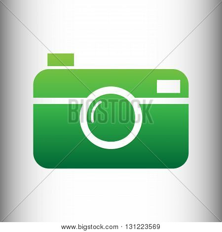 Digital photo camera icon. Green gradient icon on gray gradient backround.