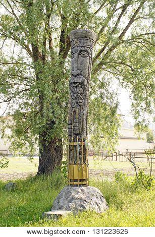 Wooden idol Perun - the ancient god of Slavic mythology