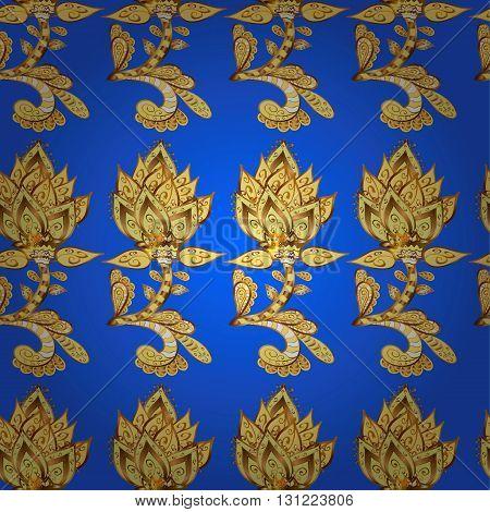 Seamless pattern on blue background. Vector illustration.