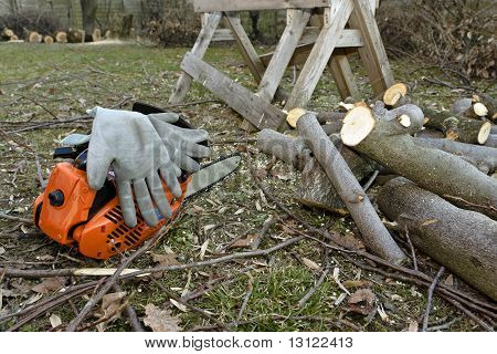 Chainsaw And Gloves