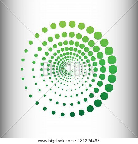Abstract technology circles sign. Green gradient icon on gray gradient backround.