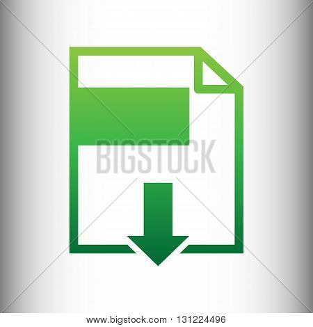 File download sign. Green gradient icon on gray gradient backround.