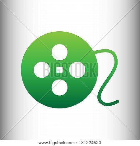 Film circular sign. Green gradient icon on gray gradient backround.