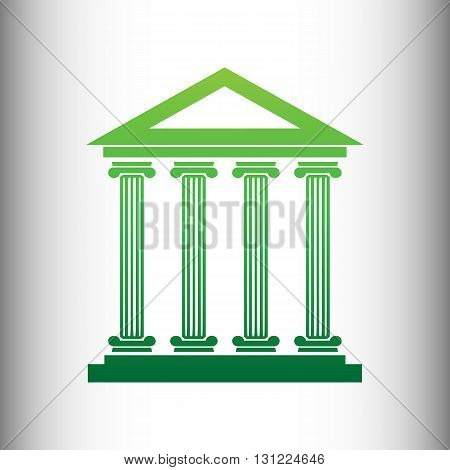 Historical building. Green gradient icon on gray gradient backround.