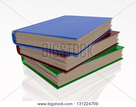 Color books white reflective background, 3D illustration.