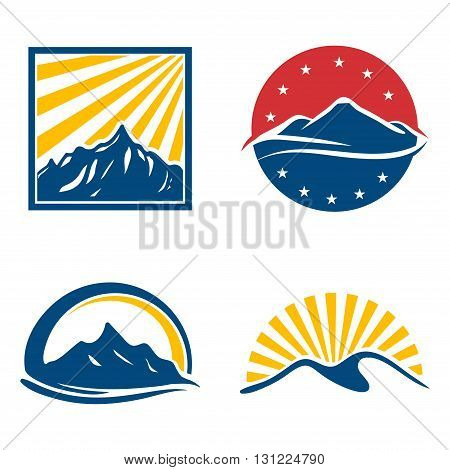 Illustration of Peak Mountain Star burst Logo Set