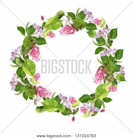 round floral frame with watercolor pink apple tree flowers, apple tree blossoms wreath, buds and leaves, template with spring flowers, gift card, invitation, hand drawn artistic illustration