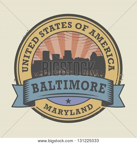 Grunge rubber stamp or label with name of Maryland, Baltimore, vector illustration