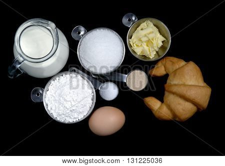 Bakery set and Croissant on Black background
