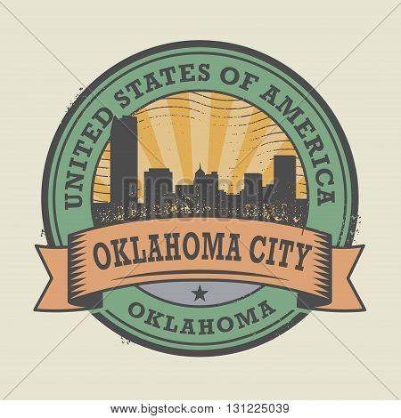 Grunge rubber stamp or label with name of Oklahoma, Oklahoma City, vector illustration