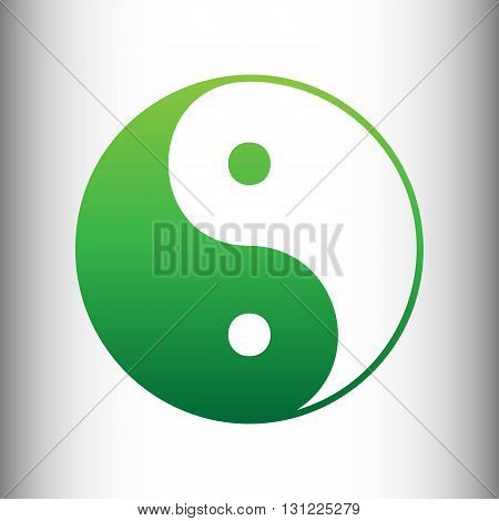 Ying yang symbol of harmony and balance. Green gradient icon on gray gradient backround.