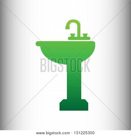 Bathroom sink sign. Green gradient icon on gray gradient backround.