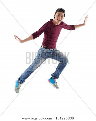 Excited Vietnamese young man, isolated on white