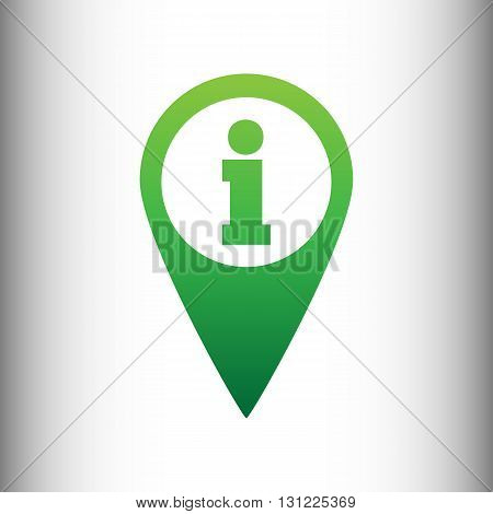 Map pointer with information icon. Green gradient icon on gray gradient backround.