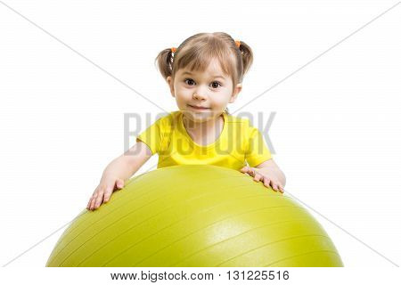 Child little girl with gymnastic ball isolated on white background