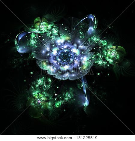 Abstract colorful blue and green flowers with shining drops on black background. Fantasy fractal design for postcards or t-shirts.